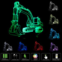 HOXCUB Excavator 7 Color 3d Visual Led Night Lights For Kids Touch Usb Table Lampara