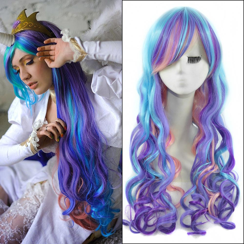 65cm mixed color long wavy anime