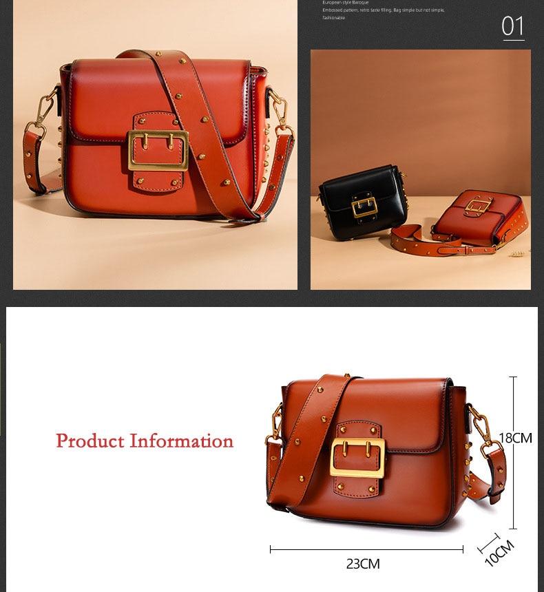 Vintage Real Leather Wide shoulder strap Handbag premium quality fashion genuine leather Shoulder Bags of Famous Brand (7)