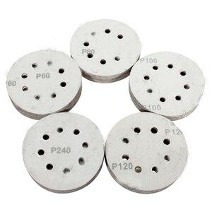 Image 3 - 100 шт. 5in шлифовальный диск 60/80/100/120/240 Грит лист наждачной бумаги на застежке липучке шлифовальный диск для наждачная бумага шлифовальный диск
