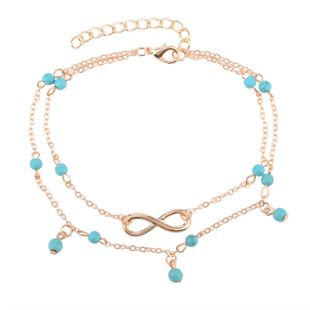 2017 Barefoot Beach Chain Blue Beads Double Tassels Anklet Bracelet