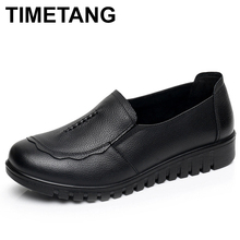 TIMETANG 2019 Women Female Old Mother Flats Shoes Loafers Slip On Round Toe Black Cow Genu