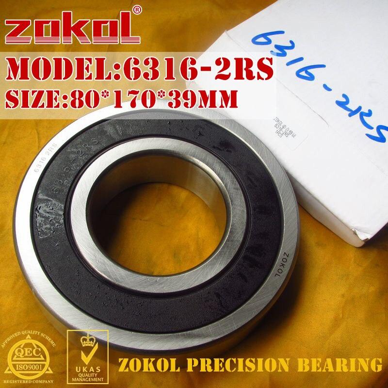 ZOKOL bearing 6316 2RS 180316 Deep Groove ball bearing 80*170*39mm gorenje df 6316 bxsc