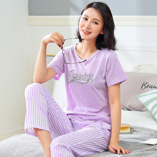 f4734b9df457 Brand New Women s Stripe Purple Pajamas Cotton Pajama Sets Female Lounge  Mujer Sleepwear Casual Pyjamas Size 3XL Home Clothing