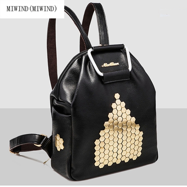 f2989735601a MIWIND(MIWIND)New black beautiful women bags girls school 2017 new fashion  willow nail shoulder bag punk trend female backpack