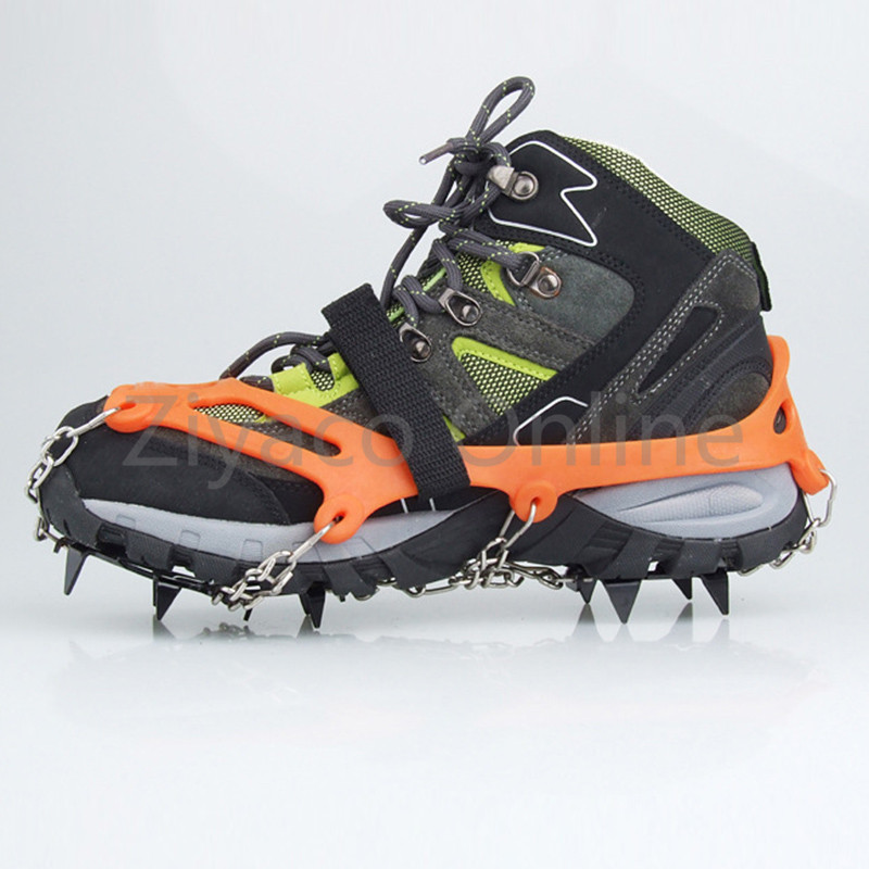 1pair Outdoor Camping Hiking Spike Grip Boots Chain Crampons Grippers 12-teeth Point Anti Slip Ice Shoes Travel Kits round snow ice climbing mountaineering shoes crampons orange pair