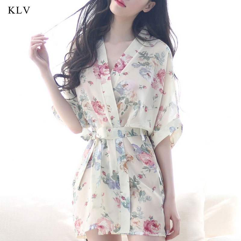 KLV Women Floral Robe Bridal Dressing Gown Wedding Kimono Sleepwear Short Style Gift