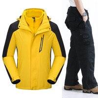 Профессиональный лыжный костюм Для мужчин ветрозащитный Водонепроницаемый куртка + штаны теплая зимняя спорта на открытом воздухе снег Лы