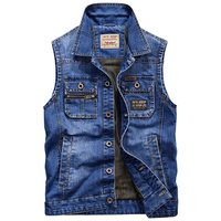 Manvelous Denim Vests Men With Many Pockets Outdoors Tactical Breathable Mesh Vest Sleeveless Jacket Casual Thin Male Vest Coat