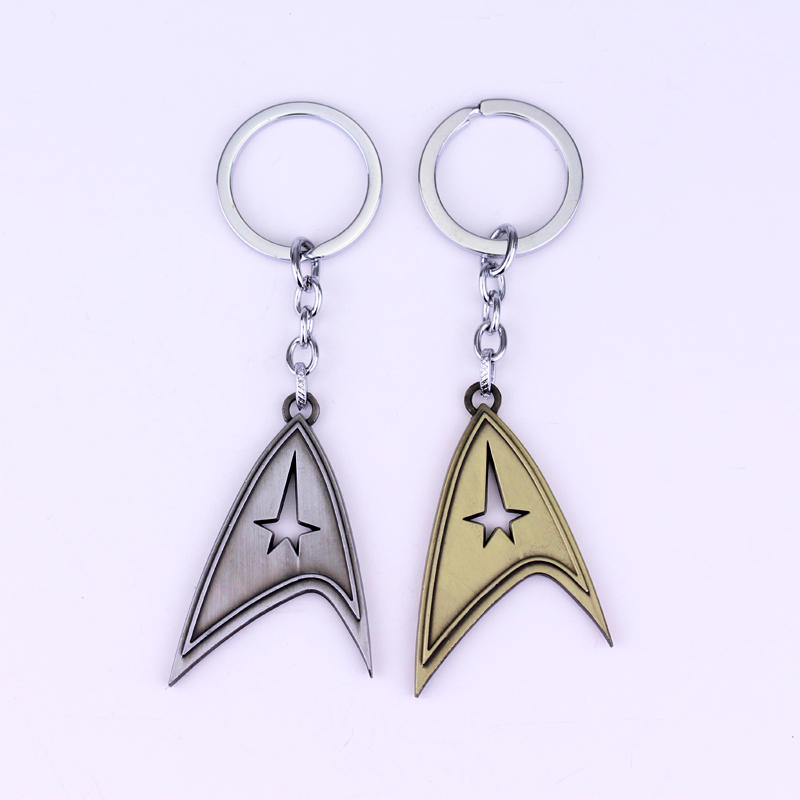 Movie Star Trek keychains Commander Ship Logo Badge keyring trendy movie silent night jack skull keyring