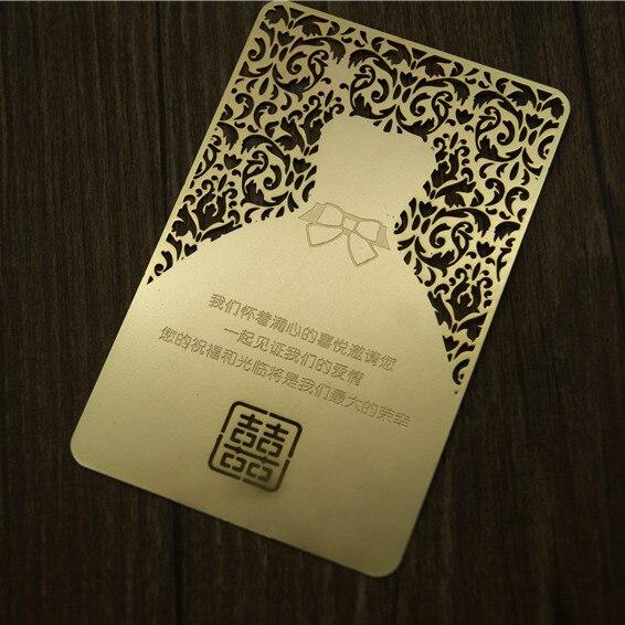 Golden Laser Cut Metal Wedding Invitation Card Double Sided