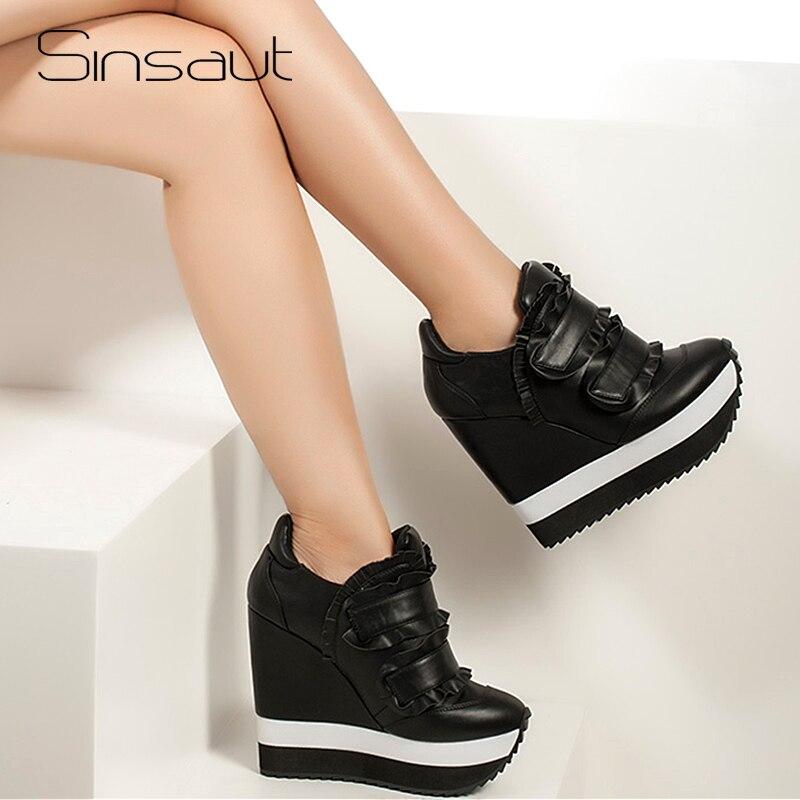 Sinsaut buty damskie buty z prawdziwej skóry na koturnie obcasie damskie buty z Ruffles Casual pompy kobieta wysoki obcas buty trampki w Buty damskie na słupku od Buty na  Grupa 1