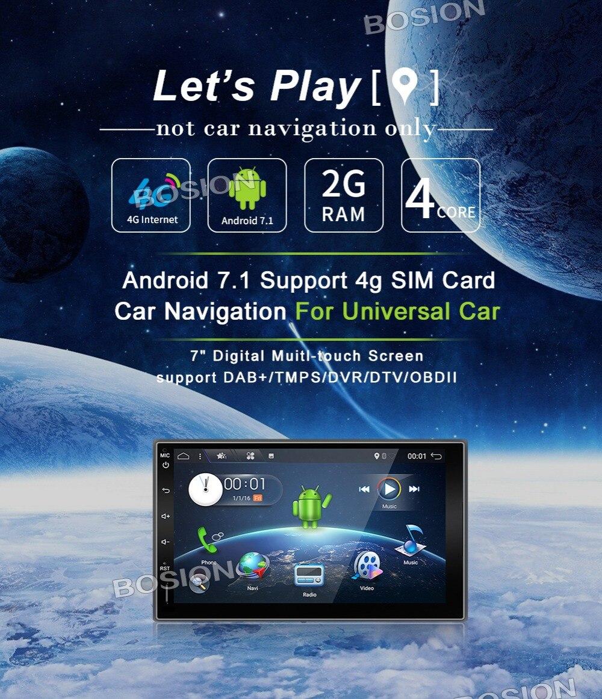 2 Din Android 7 1 Quad Core car dvd Fit NISSAN QASHQAI Tiida universal car radio