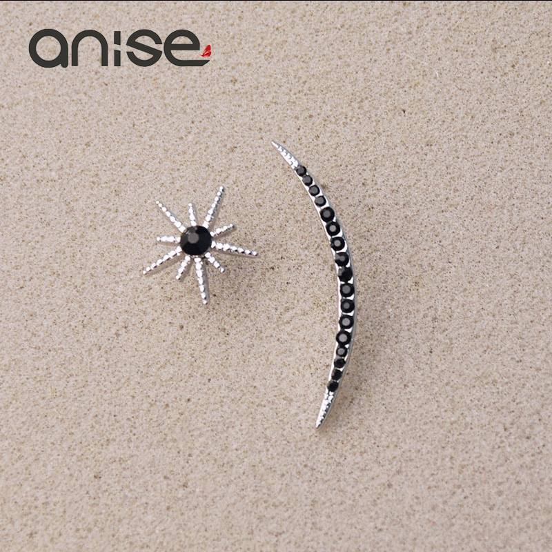 Anise Exquisite Climber Stud Earrings Both Sides Asymmetric Star Moon Crystal Earrings Female Fashion Popular Earrings Jewelry