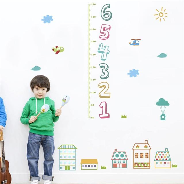 Children Kid Height Measure Growth Chart Wall Sticker Cartoon House