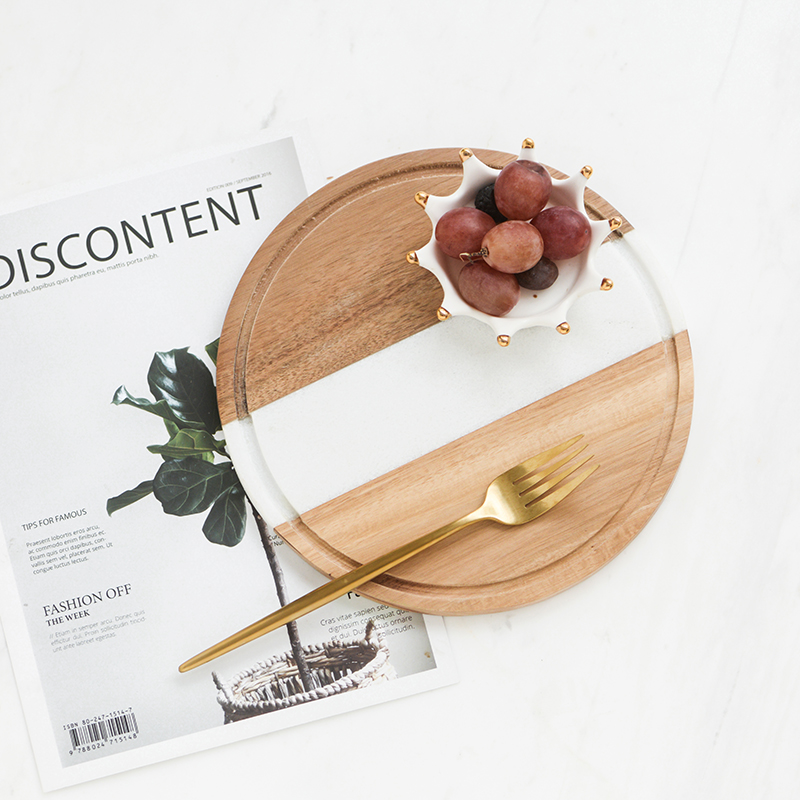 American Round Marble Wooden Bread Board Pizza Sushi Plate Small Cutting Bard for Display Tray Wood Fruits/Beef/Cake Plate