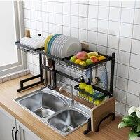 1 pcs Stainless Steel Kitchen Dish Rack U Shape Sink Drain Rack Two layers Kitchen Shelf Kitchen Supplies Storage Holder