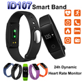 Id107 pulsera inteligente bluetooth heart rate monitor deportes gimnasio rastreador de banda inteligente para android ios vs mi band fitbit reloj
