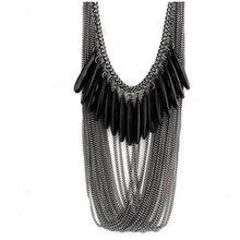 Hesiod Black Tassels Multi Layers Draped Luxury Pendant Fashion Necklace & Pendants Chain for Women Jewelry