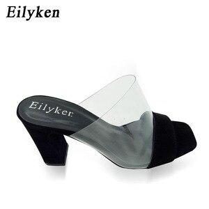 Image 2 - Eilyken夏のファッションの女性サンダル浅いローマ口女性カジュアルスクエアヒール女性厚いサンダル靴白黒サイズ 40