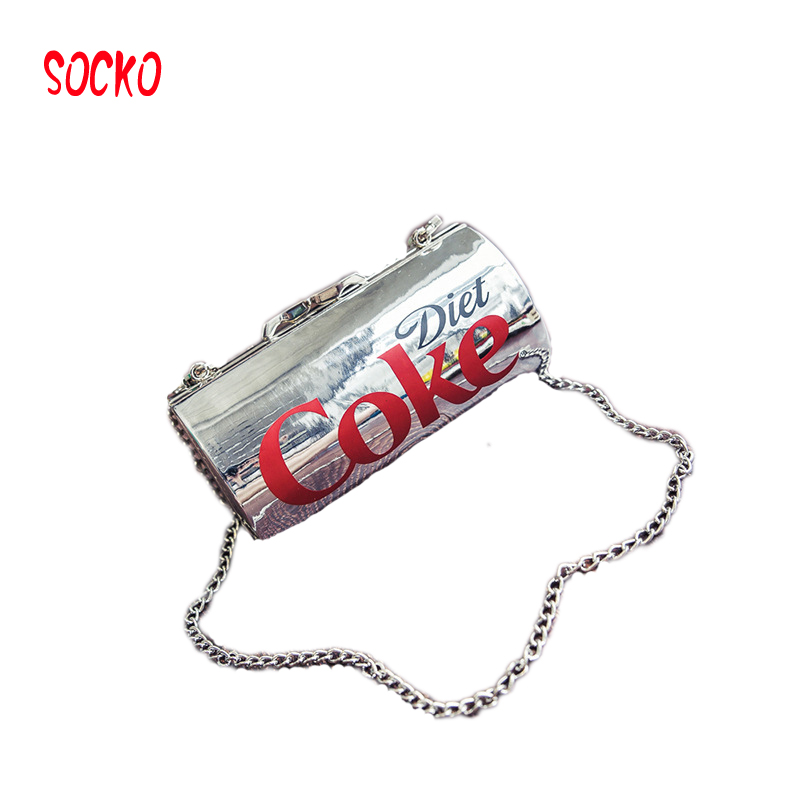 Fun cans Coke pack personalized women bag 2018 new winter mini Messenger bag Harajuku wind chain package h27