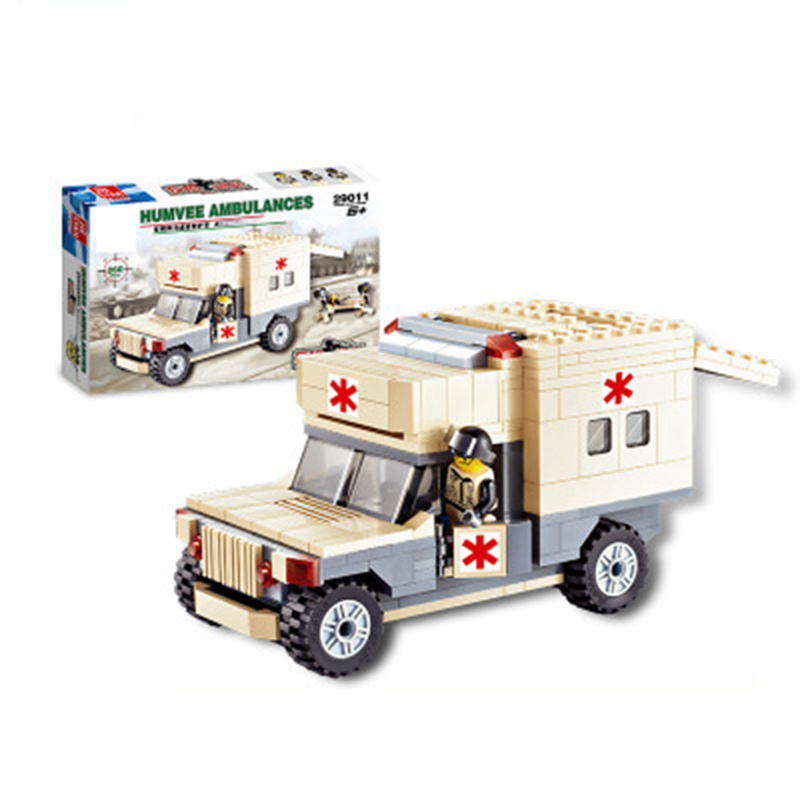 260pcs DIY Military Model Blocks ambulance building blocks compatible with Legoe Friends Educational toys War Series Bricks Set ausini95 automatic rifle military arms building blocks educational toys for children plastic bricks best friend legoe compatible