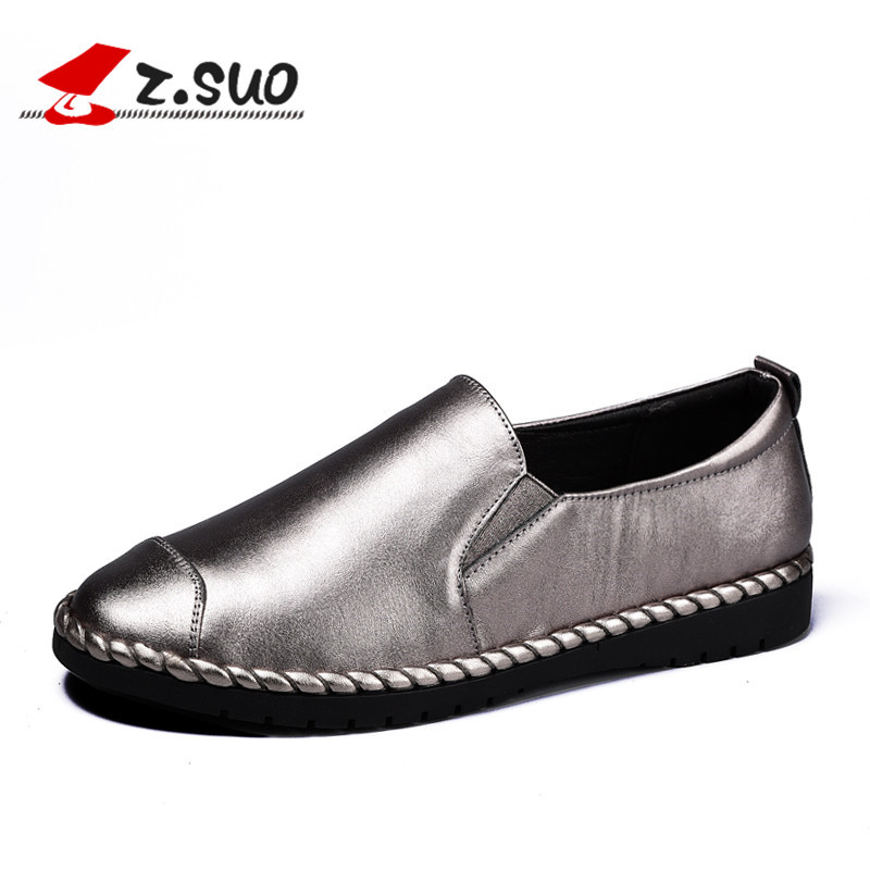 z.suo Flats Genuine Leather Shoes Woman Slip On Loafers 2017 Spring Silver Women Casual Shoes Autumn Brand Black Ladies Shoes 6N