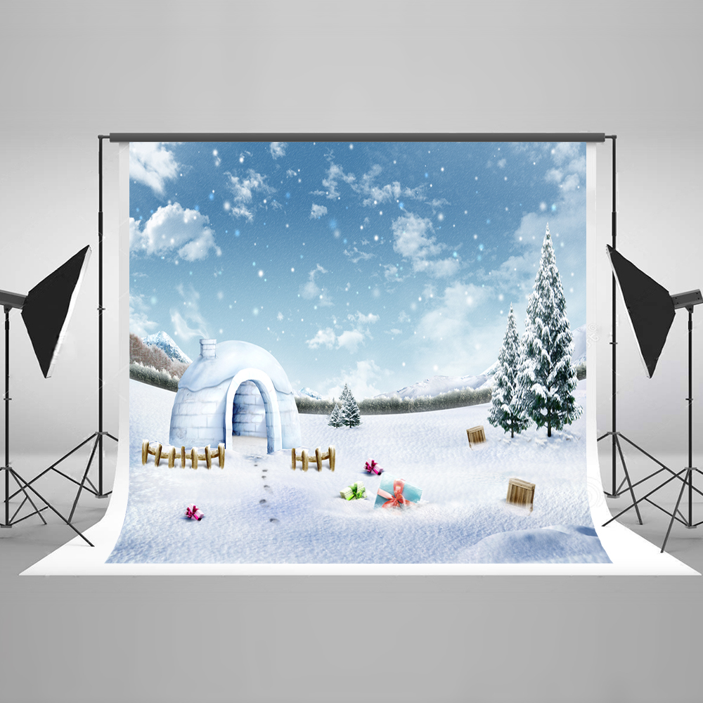 Kate 10x10ft Winter Photography Backdrops Snow Backgrounds For Photo Studio Christmas Forzencotton Washable Winter Backdrop