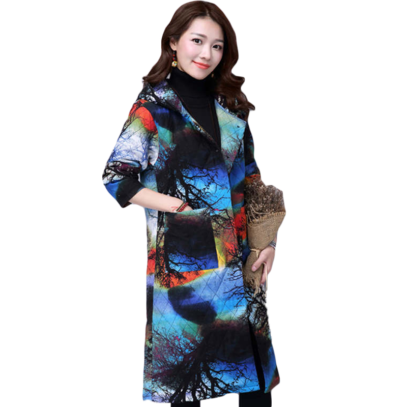 ФОТО National style 2016 Autumn Winter Woman Loose Cotton Coat Big Size Breasted Outerwear Mid-long Style Hooded Print Jacket SS313