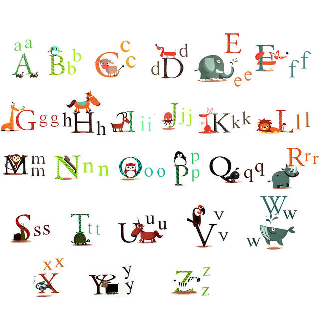 Funny 26 Animals Alphabet Educational Wall Sticker Kids Nursery Room Decor Decal