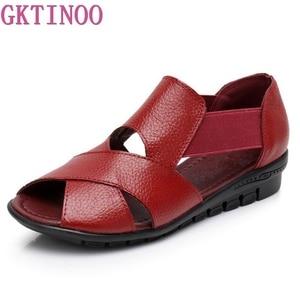 Image 1 - Сандалии GKTINOO женские в римском стиле, повседневные босоножки из натуральной кожи, удобная обувь на танкетке, лето 2020