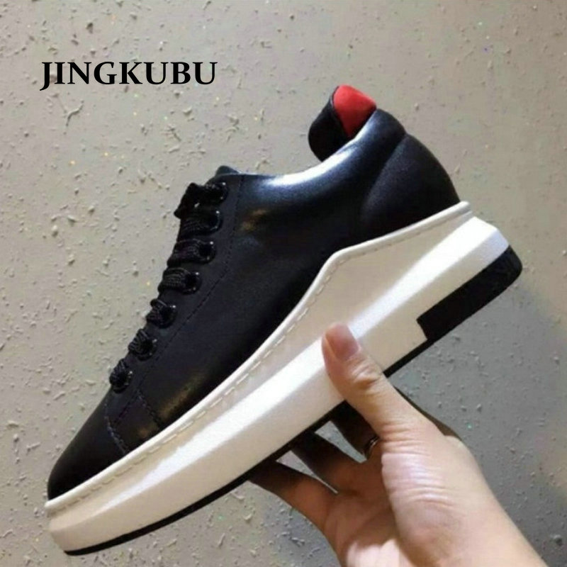 JINGKUBU 2017 Autumn Spring Solid Color Low Genuine Leather White Casual Brand Women Flat Shoes Fashion Lace Up Shoe Breathable high quality full grain genuine leather women low heels flat shoes 2016 lace up red patchwork fashion ladies autumn casual shoe