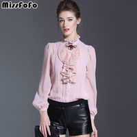 MissFoFo 2017 Pink Body Shirt Fashin Office Lady Blouse Winter Work Wear Silk One Piece Brand Female Casual Basic Shirt Rose Bow