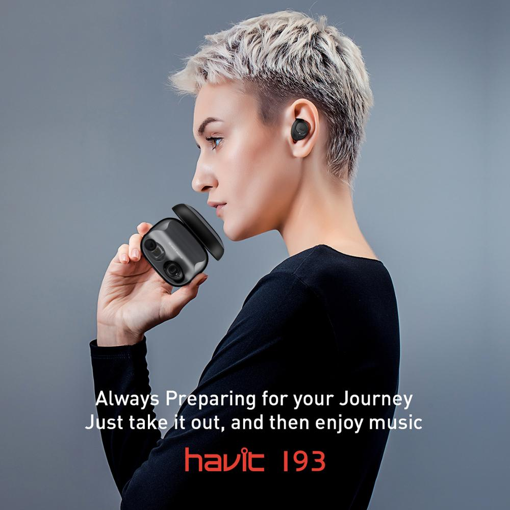 HAVIT TWS Mini écouteurs sans fil dans l'oreille Bluetooth écouteur V5.0 Sport IPX5 étanche avec 2200 mAh boîte Rechargeable casque I93 - 6