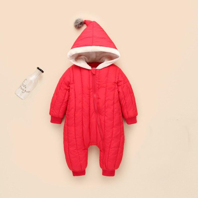 2018 spring autumn Warm baby girl boy Snowsuit down cotton baby   Rompers   hoodies Newborn overalls clothes kids children jumpsuit