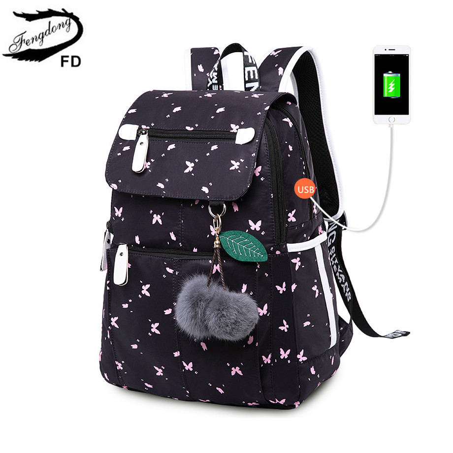 Fengdong Female Fashion School Backpack Usb School Bags For Girls Black Backpack Plush Ball Girl Schoolbag Butterfly Decoration