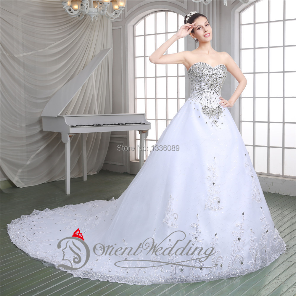 Luxury Beading Crystals Sweetheart Neckline Long Train Ball Gown ...