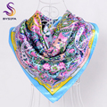 [BYSIFA] Light Blue Ladies Silk Scarf Hot Sale Apparel Accessories Women Paisley Large Square Scarves Wraps For Autumn Winter