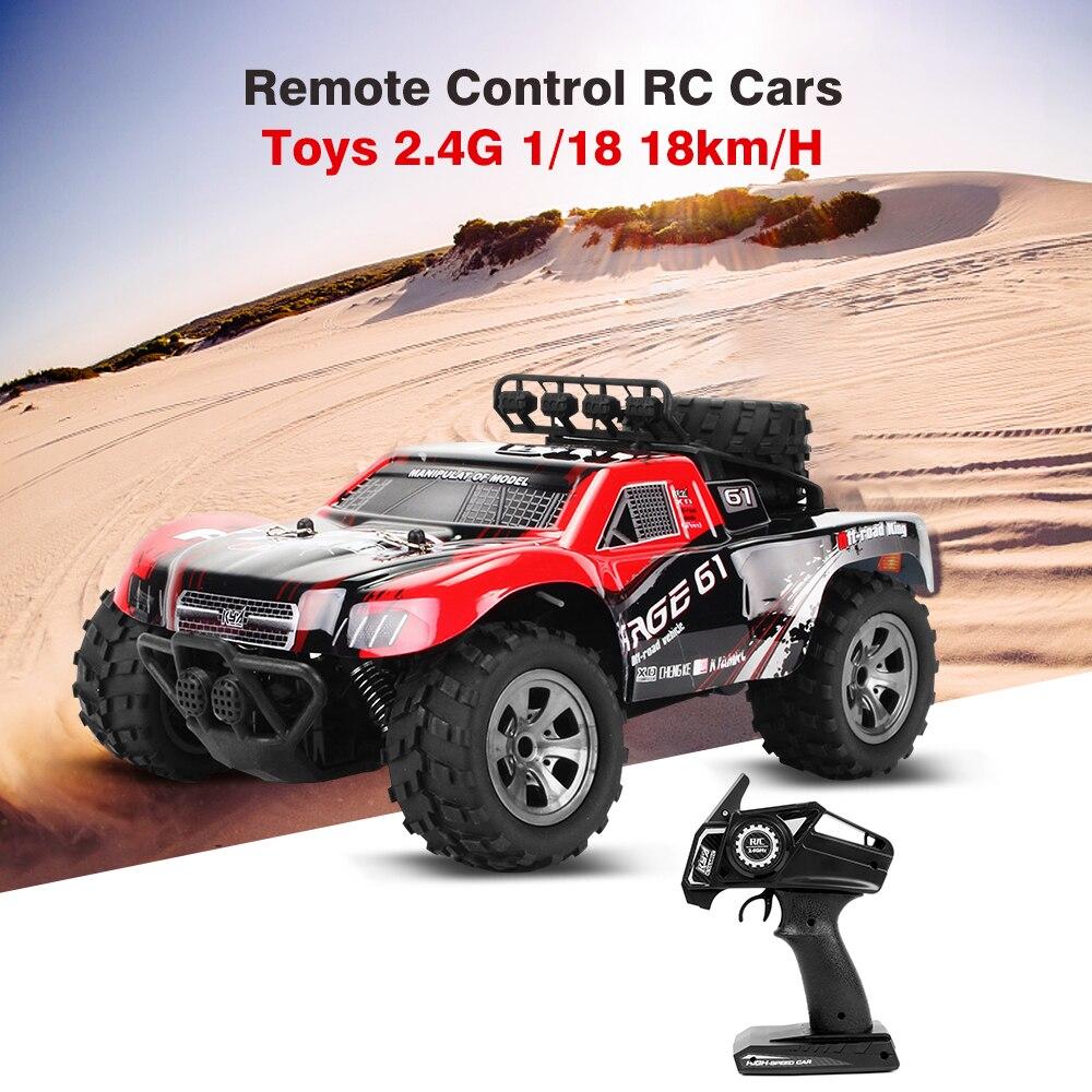 Gran oferta de Control remoto de coches rc de juguete 2,4G 1/18 18 km/H deriva Off-Road coche de camiones en el desierto RTR juguete regalos navidad niños