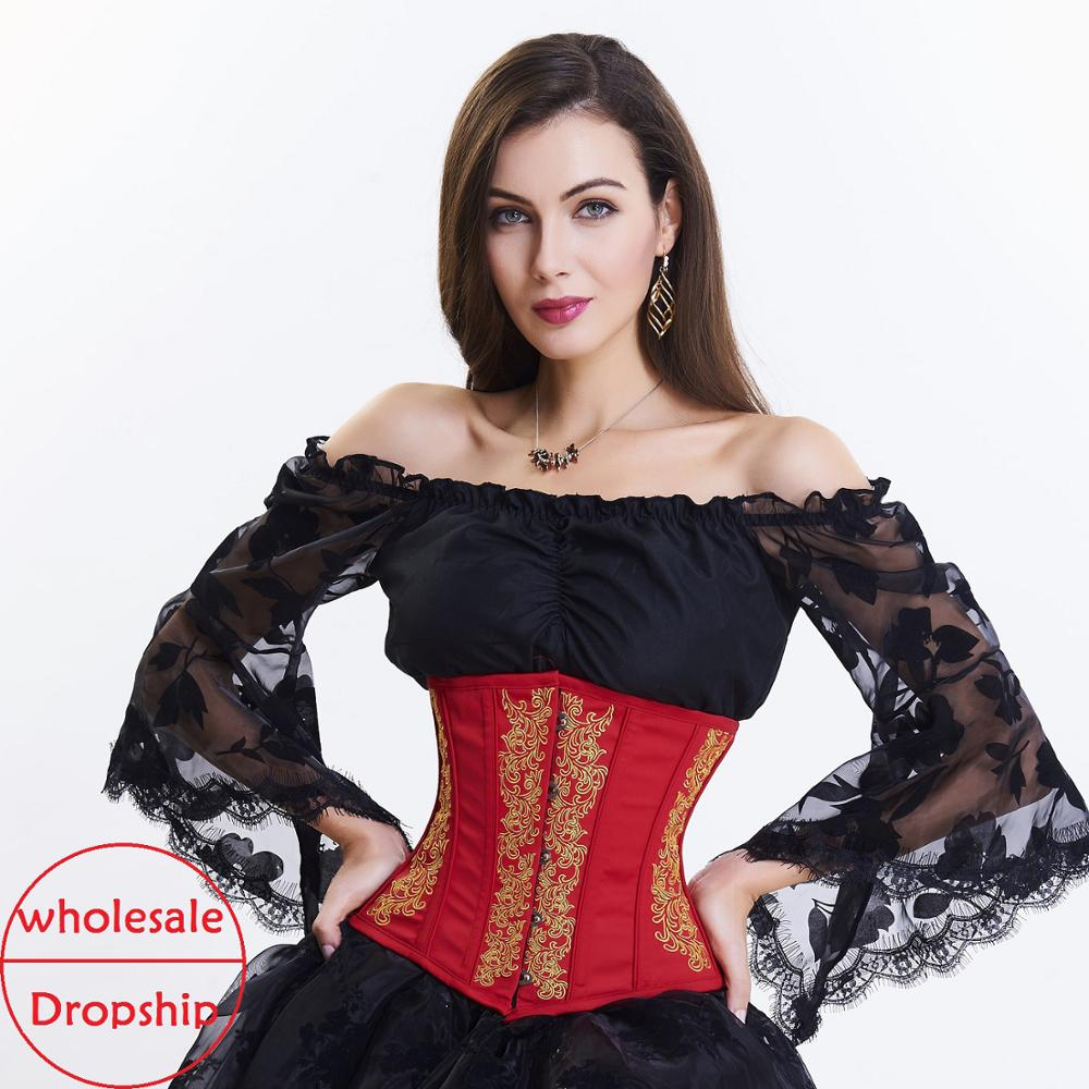 Waist Trainer  Women Corsets Slimming Shaper Belt Satin steampunk Underbust Corset Sexy Up Bustiers & gothic Corsets-in Bustiers & Corsets from Underwear & Sleepwears on AliExpress