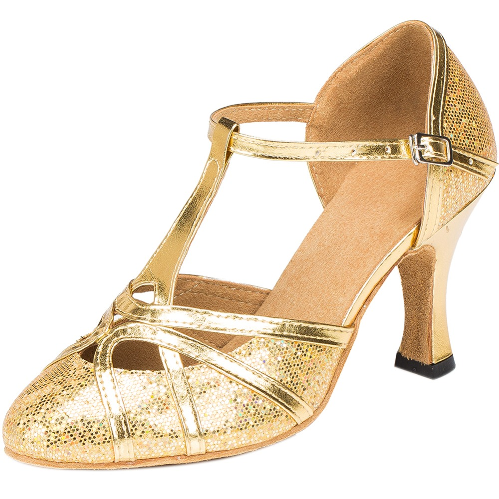 eeae83ee40 LOSLANDIFEN Women Gold Glitter Dance Shoes Round Toe High Heels T-strap  Salsa Latin Dance Pumps Ballroom Shoes