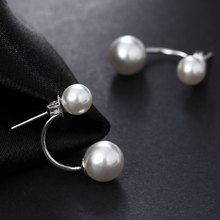 Hot Silver Plated Double Side Earing Fashion Jewelry Crystal Ball Stud Earrings Women Simulated Pearl Earrings Free Shipping