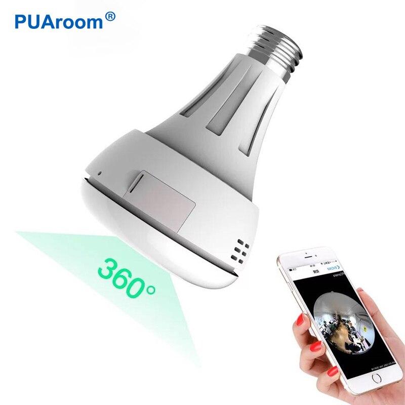 PUAroom 3MP lumière ampoule 360 sans fil caméra ip caméra Fisheye Caméra cachée Intérieure