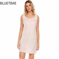 100% Algodão Com Cordão Mulheres Night Dress Roupa Senhora Verão Solto Sleepshirt camisola Sleepwear Pijama Roupa Interior