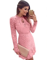 2017 New Arrive Robe Vestidos Women Fashion Casual Lace Dress Sexy Pink Evening Party Dresses Vestido
