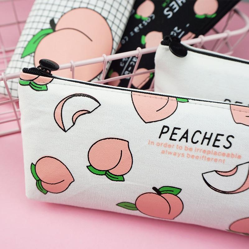 New canvas Fruit Peach pencil case school pencil cases for girl stationery canvas pencil bag estojo escolar school supplies in Pencil Cases from Office School Supplies