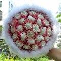 Новый Бренд довольно Перо День Святого Валентина Букет 8 Hello Kitty плюшевые Игрушки 17 Белые Розы Искусственный Игрушка Букет Цвет Опционный D30