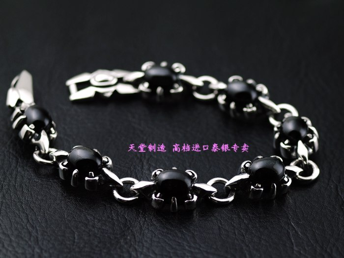 925 pure silver inlaying black star stone male thai silver bracelet