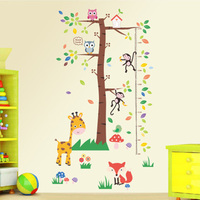 Cartoon Animals Owl Fox Giraffe Monkey Large Tree Growth Chart Wall Stickers Home Decor For Children