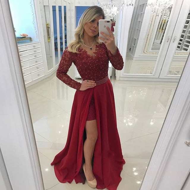 b83ca2ca1e 2019 Elegant Burgundy Prom Gowns Sheer Neck Long Sleeves Lace Chiffon Side  Split Women Dresses Plus Size Party Dresses